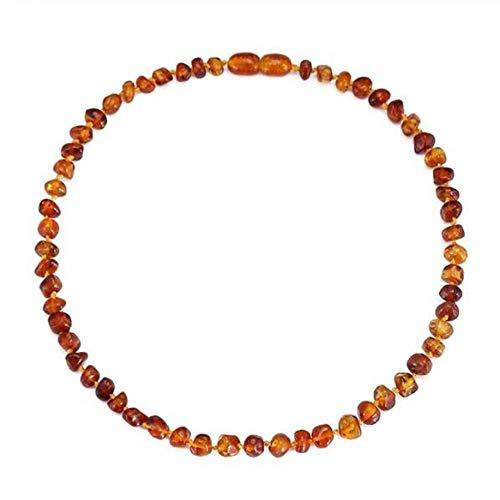 Collana/Bracciale in Ambra da dentizione per Bambino da 14 a 35 cm - Regalo - 4 Colori-Cognac_Piccolo 11 Pollici 28 cm