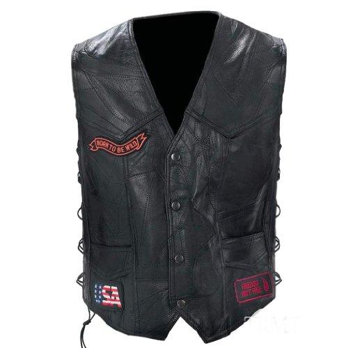 Diamond Plate Rock Design Genuine Buffalo Leather Biker Black Vest GFVBIKE3X