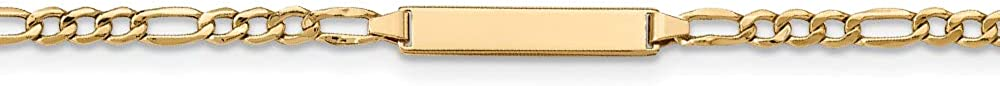 14k Yellow Gold Children's Semi-Solid Figaro Personalized Link ID Bracelet, 7