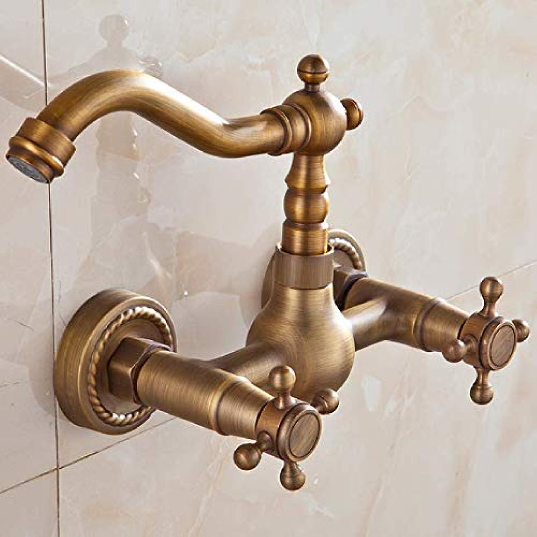 Wasserhahn Luxus Bad Wasserhahn Antik Messing Küchenmischbatterie Wasserhahn Wandmontage Dual Griff Warm- Und Kaltwasserhhne