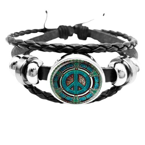 Pulsera de botón de cúpula de cristal con logotipo de la paz inicial/hippie DIY hecha a mano joyería de moda vintage encanto negro pulsera regalo de moda