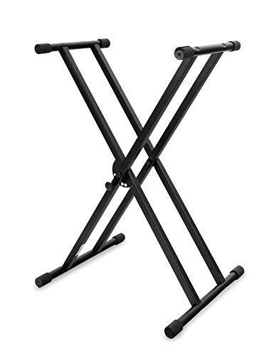 Classic Cantabile dubbel uitgevoerde keyboard-standaard - 5-voudig in hoogte verstelbaar toetsenbordstatief - stabiel keyboard standaard dubbel - Stand voor E-Piano Stagepiano - Piano houder zwart