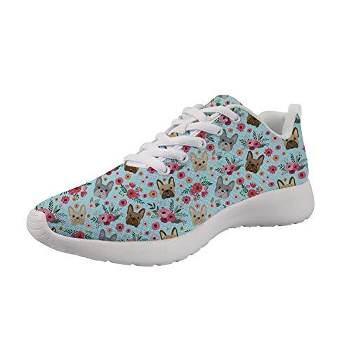 Nopersonality - Zapatillas de deporte para mujer o hombre, para running, running, zapatillas bajas, modelo de perro, Azul (French Bulldog), 36 EU