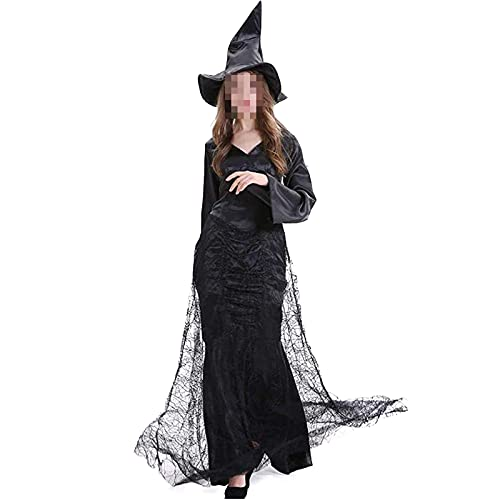NASTON Disfraz de Mago Vampiro de Bruja de Cosplay de Halloween, Vestido de Encaje, Ropa de espectculo de Escenario,Negro,L