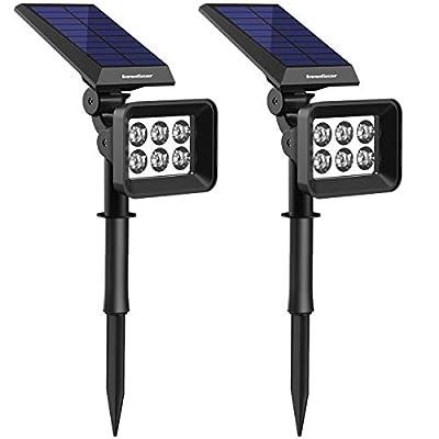 InnoGear Upgraded 6 LED Solar Spotlights Outdoor for Yard Garden Driveway, 2 Pack?White Light?