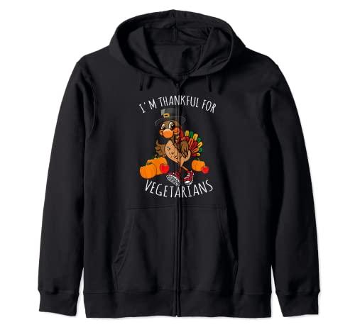 Disfraz de pavo de Accin de Gracias con texto en ingls 'I'm Thank ful For Vegetari Sudadera con Capucha