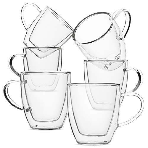 BTaT- Small Espresso Cups, Demitasse Cups, Set of 6 (2.0 oz, 60 ml), Glass Coffee Mugs, Double Wall Glass Cups, Cappuccino Cups, Latte Cups, Clear Coffee Cup, Tea Glass, Espresso Glass, Glass Tea Cups