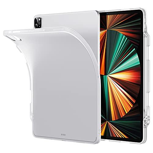 ESR iPad Pro 12.9 ケース 第五世代 5G 2021年モデル 半透明 つや消し ペンシルホルダー付き スリム 軽量 柔軟な背面 ペンシルのワイヤレス充電対応 半透明