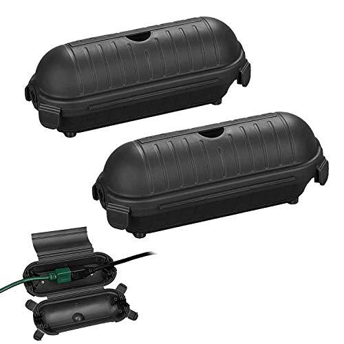 Safebox für Verlängerungskabel,2er Outdoor Safebox,Schutzbox für außen Verlängerungskabel bis 12mm,Sicherheitsbox Wasserfeste Schutzkapsel für Stromstecker/Verlängerung (Kabelbox)