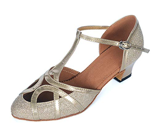 Meijili Damen High Heel Schuhe Salsa Tango Modernes Ballrom Latein Tanzschuhe Partys Schuhe Gelb - Champagne-2 - Größe: 39 1/3 EU