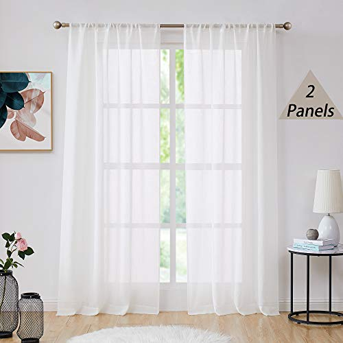 Central Park White Semi Sheer Window Curtain Panels Linen Texture Solid Window Treatment Sets Drape Pairs Rod Pocket Curtains for Living and Bedroom Farmhouse 95 inches Long, 2 Panels