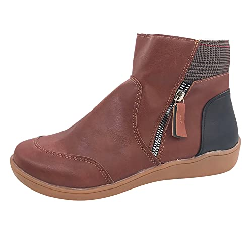 Heumgtnvx Retro Western Boots Womens PU Leather Short Boots Round Toe Zip Up Ankle Boots Comfy Flat Walking Shes Brown