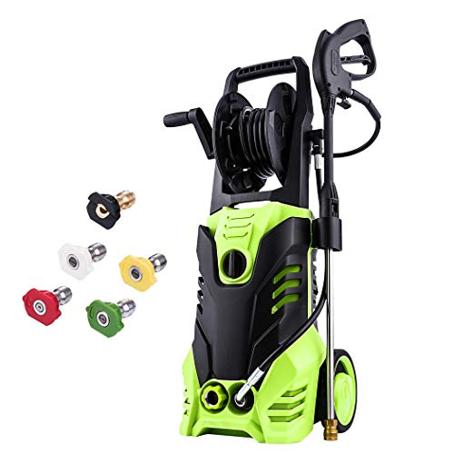 Meditool Pressure Washer, 3000PSI 1.80 GPM 14.5-Amp Power Washer, 1800W Rolling Wheels Electric Pressure Washer with Hose Reel, 5 Nozzles, 33 Foot Outdoor Extension Cord