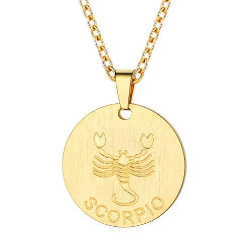 PROSTEEL Sternbilder Collier Damen 18k vergoldet Runde Anhänger mit Sternzeichen Skorpion Gravur Münze Kette 2,5mm/55cm Modeschmuck Geschenk für Mädchen Frauen