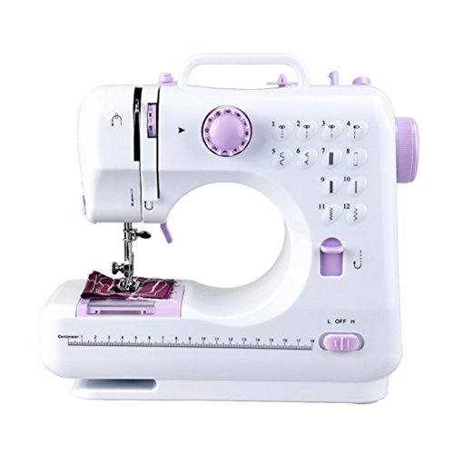 Best Deals! ROSENICE Portable Mini Sewing Machine Multifunction Household Double Thread and Speed Fr...