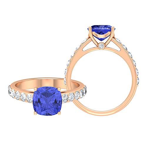 Rosec Jewels 14 quilates oro rosa cojín Round Brilliant Blue Moissanite Tanzanita creada en laboratorio