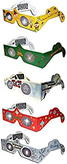 3D Christmas Glasses - 5 Pairs / 5 Turn Christmas Tree & Holiday Lights into Magical Images - Stocking Stuffers - Secret Santa - Office Parties - Fun for The Family