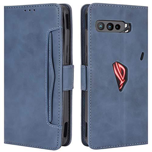 HualuBro Handyhülle für Asus ROG Phone 3 ZS661KS Hülle Leder, Flip Hülle Cover Stoßfest Klapphülle Handytasche Schutzhülle für Asus ROG Phone 3 ZS661KS Tasche (Blau)