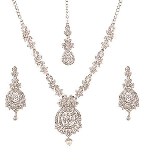Touchstone Indian Bollywood Awesome Fine Workmanship Stylish Studded Diamond Look White Rhinestone Designer Jewelry Necklace Set In Silver Tone for Women.