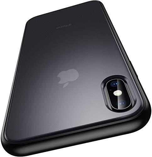 Meifigno iPhone Xs 用ケース iPhone X 用ケース ブラック [強化ガラスフィルム付き] [軍事レベル認証] マット 半透明 ソフトなTPUエッジ+かたいPC裏側 耐久性 耐衝撃 指紋防止 ワイヤレス対応 アイフォンX/Xs 用カバー 5.8インチ (ブラック)