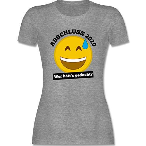 Abi & Abschluss - Emoticon - Abschluss 2020 - Wer hätt's gedacht? - M - Grau meliert - abi 2019 Shirt Damen - L191 - Tailliertes Tshirt für Damen und Frauen T-Shirt