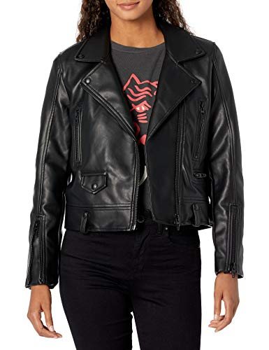 [BLANKNYC] womens Basic Vegan Moto With Front Zipper Closure Faux Leather Jacket, Black, Small US -  24XA5659-001