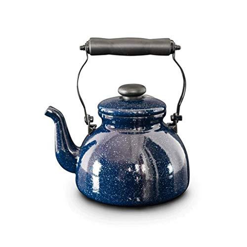 CJTMY Esmalte en Caldera de té de Acero, Tetera esmaltada de Porcelana, Olla de café halógena de inducción para el diseño clásico Retro de la Estufa