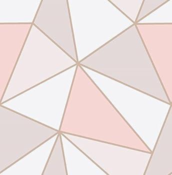 Fine Decor Wallcoverings FD41993 UK Apex Geo Sidewall Wallpaper Rose Gold