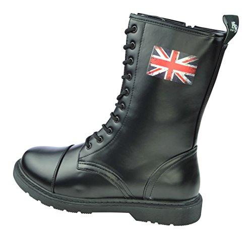 Matthias Kranz 10 Loch UK Knightsbridge Boots Stiefel Dark Creationz mit verschiedenen Motiven (46, Union Jack British Flag)