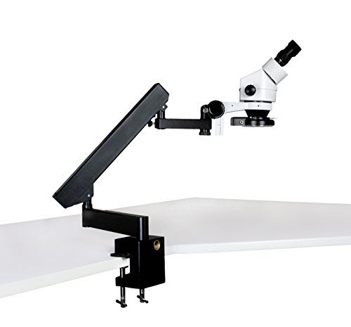 Parco Scientific Binocular Zoom Stereo Microscope, 10x WF Eyepiece, 0.7X—4.5X Zoom Range, 7X—45x Magnification Range, Articulating Arm Clamp Stand, 144-LED Four-Zone Ring Light with Intensity Control