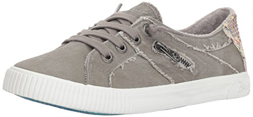Blowfish Malibu Women's Fruit Sneaker, Wolf Gray Smoked Canvas, 6.5 M US