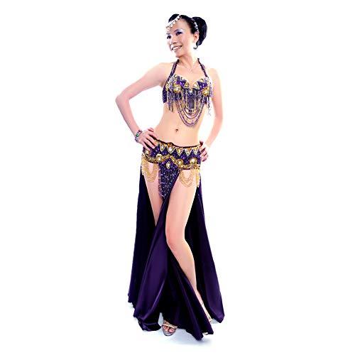 ROYAL SMEELA Danza del Vientre Traje de Falda Larga cinturón Sujetador Mujer Trajes Flamenca Sexy Vestidos Espectáculo del Festival Actuación Falda cinturón Sujetador