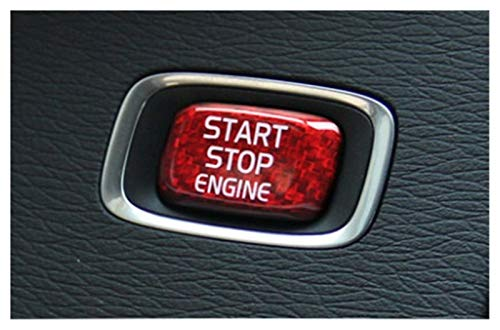 Rumors 1pcs Fit para VOLVO V40 V50 V60 S60 XC60 S80 V70 XC70 Botón de arranque del motor del automóvil de XC70 Pegatina de fibra de carbono Cubierta de la tapa del interruptor de parada START DE UNO B
