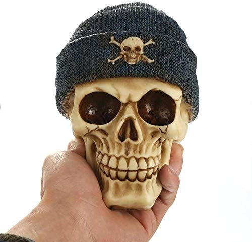 DDGD Skull with Cap Skeleton Figurine Statue DIY Home Halloween Decorative Craft