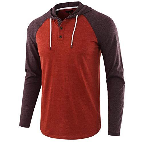 Men T-Shirt Long-Sleeve with A Hood Sweatshirt Outdoor Golf Fitness Mountaineering Running Top Thin and Light Comfortable Soft T-Shirt Regular Fit Purple XXL
