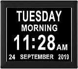 dh-10 [8 opciones de alarma] Reloj de día extra grande con fecha, mes...
