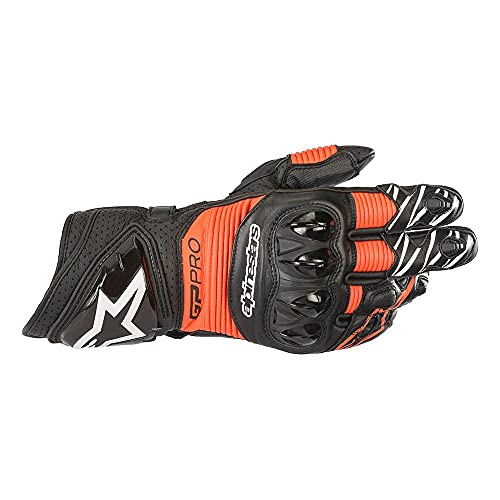 Guantes de Moto Alpinestars GP Pro R3 Gloves Black Red Fluo, Negro/Rojo, S