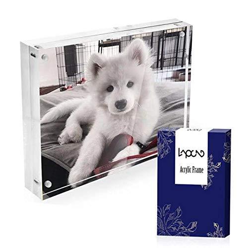 Lapeno Acryl Bilderrahmen, 4*6'' magnetischer Bilderrahmen-Desktop-Bildschirm mit Geschenkbox-Paket 20mm Stärke-transparenter Fotorahmen für Familien-Innenministerium