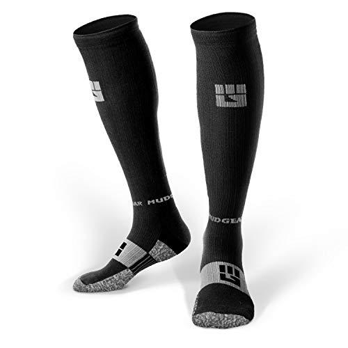 MudGear Premium Compression Socks - Mens & Womens Running Hiking Trail - 1 Pair (Black/Gray - L)