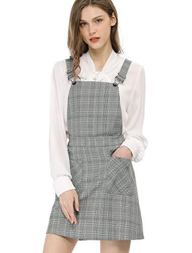 Allegra K Women's Plaids Adjustable Strap Above Knee Overall Dress Suspender Skirt Green-Grey M (US 10)