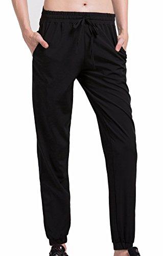 Cody Lundin® Mujer Compresión Deporte Pantalones Negro Casual Suelto Trotar Tenis Baile Pantalón (L)