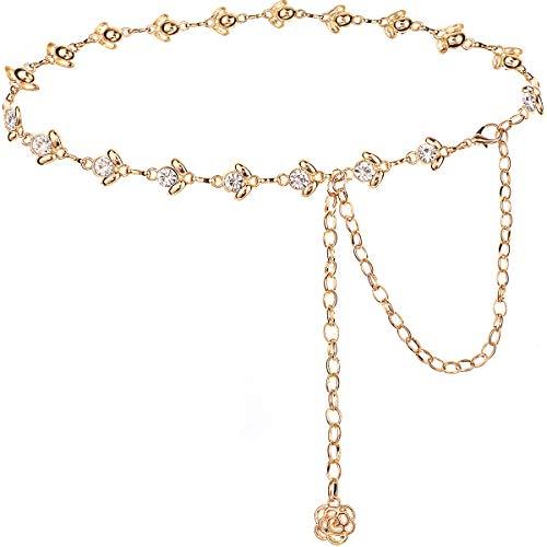 Suyi Gold Kettengürtel für Frauen Strass Taillenkette für Kleid 105CM Gold