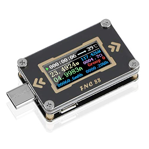 USB Tester Multimeter Typ C USB-C Spannung Stromtester Messgerät Voltmeter Amperemeter Digitaler 2-Wege PD Trigger Schnellladung QC2.0 / QC3.0 0-24V 5A FNC88