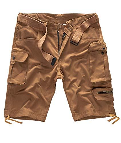 Rock Creek Herren Cargo Shorts mit Gürtel Short Kurze Hose Herrenshorts Cargoshorts Sommer Hose Bermuda Hosen Outdoorshorts H-171 Camel W34
