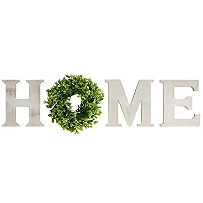 Huinsh Home Letter Decorative Sign Wall Hanging Wooden Home Signs with Green Wreath Flower (Light Grey)