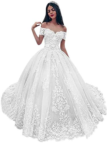 Meganbridal Women's Ball Gown Off Shoulder Sweetheart Appliques Lace Wedding Dresses for Bride with Train Ivory