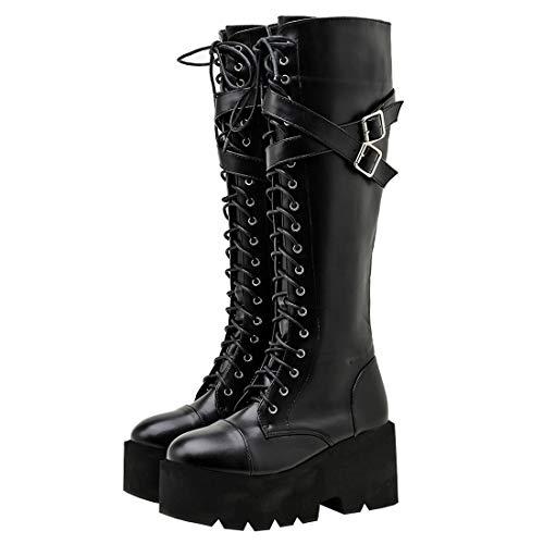 Etebella Damen Knee High Combat Boots Blockabsatz Plateau Gothic Kniehohe Stiefel zum Schnüren Punk Schnalle Kniestiefel High Heels (Schwarz 3,35)