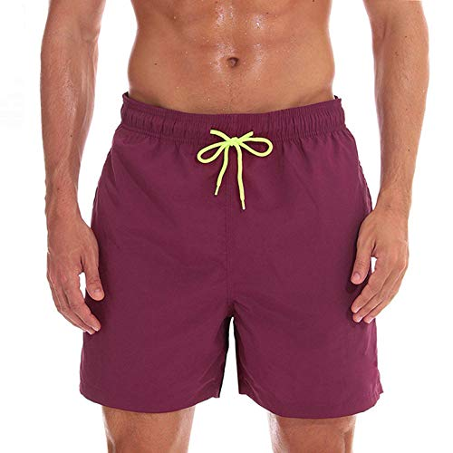 Qier Pantalones Cortos Hombre Beach Board Shorts Traje De Baño Running Sports Surffing Shorts, Borgoña, XL