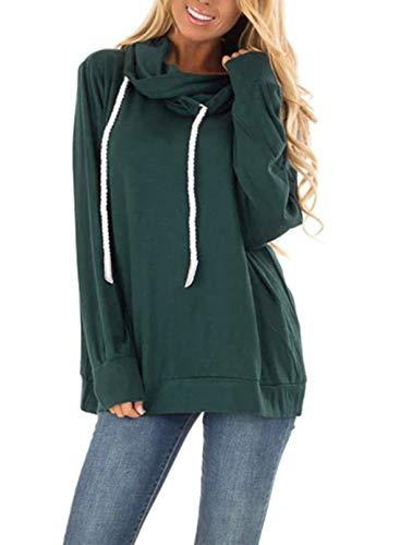 Sudadera con capucha para mujer, de color sólido, manga larga, con cordón y cuello de solapa, con capucha, con capucha, para mujer