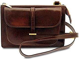 GIUDI ® - Borsa donna in vacchetta, tracolla, borsa a spalla, vera pelle, Made in Italy. (Marrone)